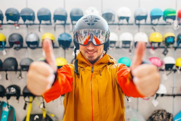 Man in helmet for ski or snowboarding